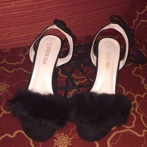 Black Fluff Heel